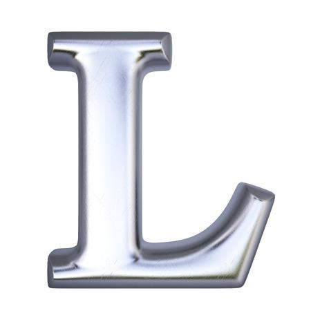 letras cromadas: Alfabeto de plata. aislado en blanco.