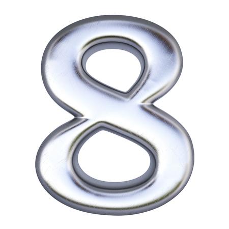 letras cromadas: número de plata. aislado en blanco. Foto de archivo