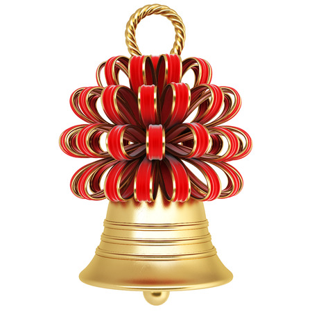 golden bell with a red bow. isolated on white. photo