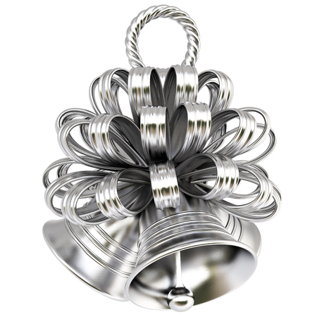 silver bells: silver bells with bow. isolated on white.