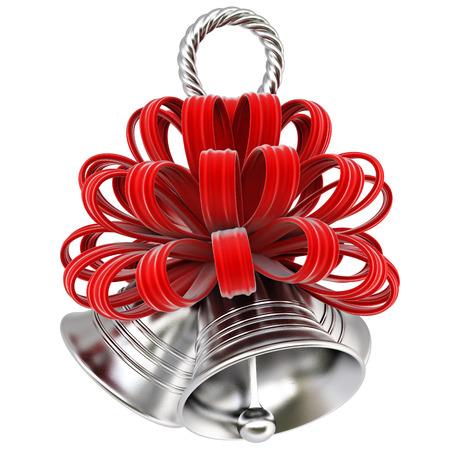 silver bell with a red bow. isolated on white. photo