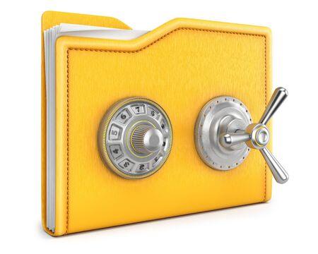 folder with safe lock. isolated on white background. photo
