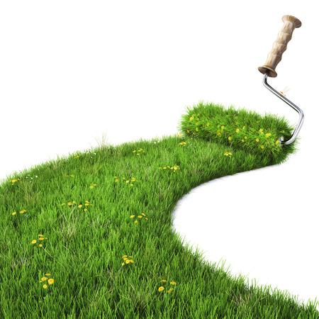 rouleau attire la route de l'herbe verte. isolé sur blanc.