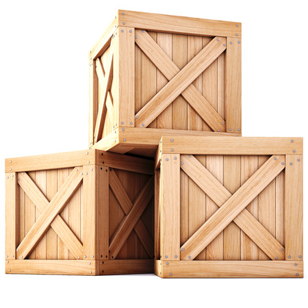 wooden boxes isolated on white background. Фото со стока