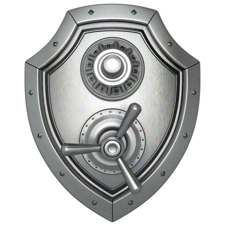 safe guard: metal shield with safe lock. isolated on white background.
