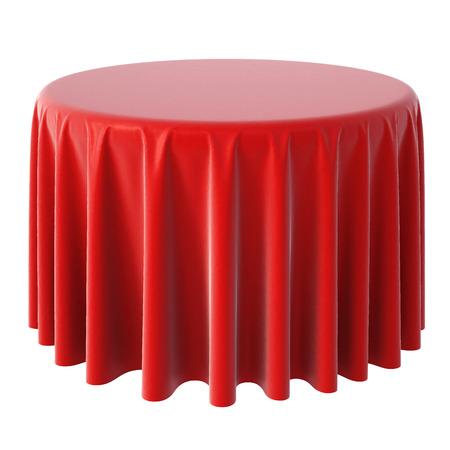 赤いテーブル クロス。白い背景上に分離。 写真素材