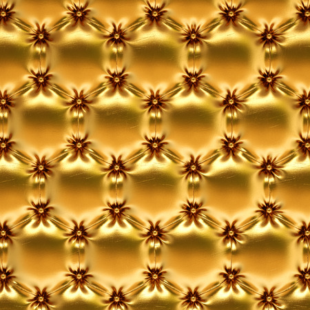furniture detail: golden leather texture honeycomb. Stock Photo