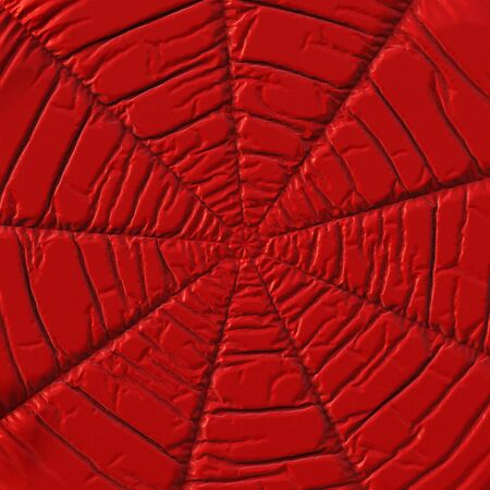 crumpled: Crumpled red cloth in the form of a cobweb.