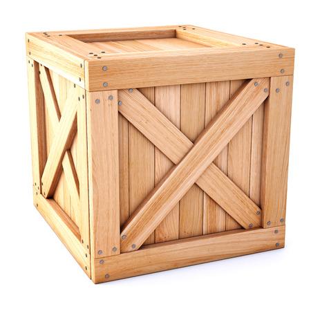 houten kist op een witte achtergrond. Stockfoto