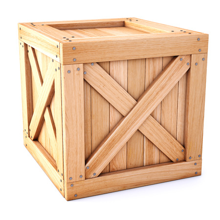 wooden box isolated on white background.