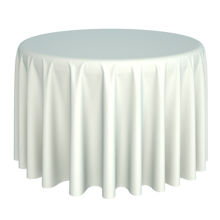 banquet table: white tablecloth. isolated on white background. Stock Photo