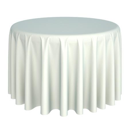 wit tafelkleed. geïsoleerd op een witte achtergrond. Stockfoto
