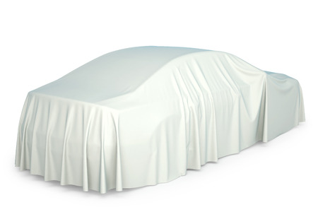 Presentation of the new car. Car covered with a white cloth.