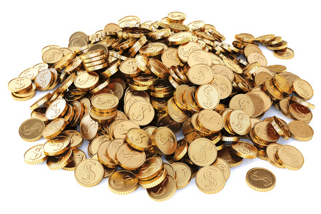 gilt: heap of gold coins. Isolated on white background.