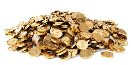hoop van gouden munten. Geïsoleerd op een witte achtergrond.
