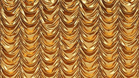 theatrical: golden theatrical curtain. 3d image.