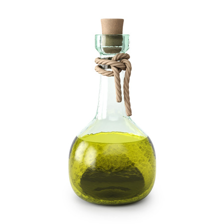 poisoning: yellow potion in the bottle. isolated on white background.