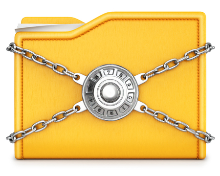 combination: folder with chain and combination lock. isolated on white background.