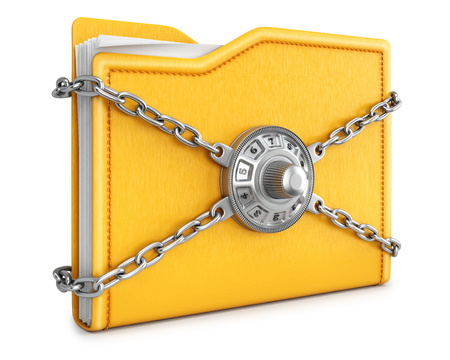 combinations: folder with chain and combination lock. isolated on white background.