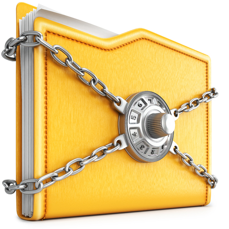 locked icon: folder with chain and combination lock. isolated on white background.