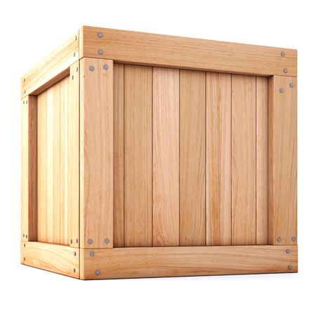 Scatola di legno isolato su sfondo bianco. Archivio Fotografico - 41131728
