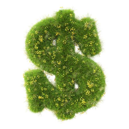 signo pesos: Signo de dólar de la hierba verde. aislado en el fondo blanco. Foto de archivo