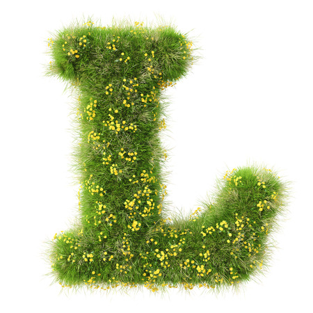 fonts 3d: Alphabet from the green grass and flowers. isolated on white. Stock Photo