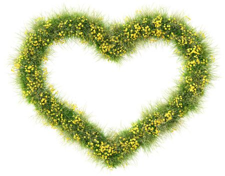 isolated on green: Frame of green grass and flowers in the shape of a heart. isolated on white background.