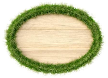 letreros: Cartelera de madera con bordes de hierba. Aislado en un fondo blanco.