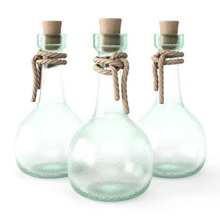 elixir: poción botella vacía. aislado en el fondo blanco.