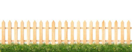 wooden fence and grass.  isolated on white background