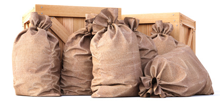 burlap bag: wooden boxes with bags. isolated on white background. Stock Photo