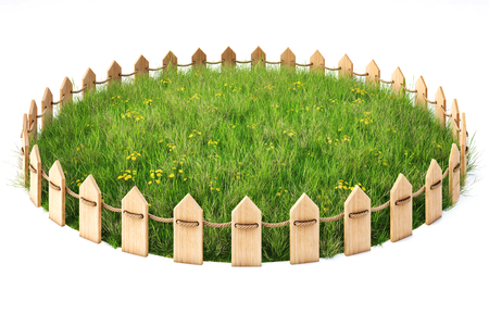 round island with a grass lawn enclosed by a wooden fence. isolated on white background.