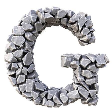 Alfabeto dalle pietre. isolato su sfondo bianco.