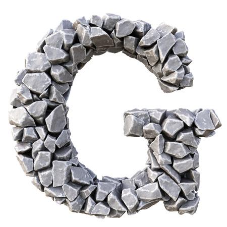 stone: Alphabet  from the stones. isolated on white background. Stock Photo