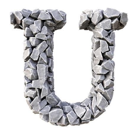 white stones: Alphabet  from the stones. isolated on white background. Stock Photo