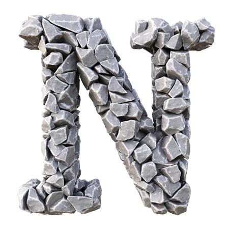 石からのアルファベット。白い背景上に分離。