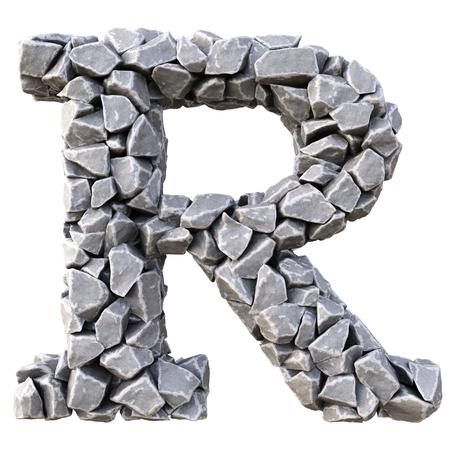 cracked: Alphabet  from the stones. isolated on white background. Stock Photo