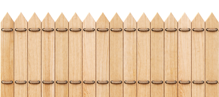 slats: wooden fence with ropes. isolated on white background.