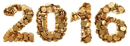 numeration: new 2016 year from the golden coins. isolated on white. Stock Photo
