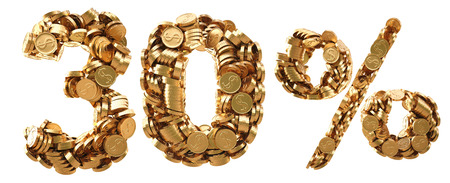 gilt: percent discount from the golden coins. isolated on white background.