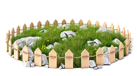 rock stone: round island with a grass lawn with rocks enclosed by a wooden fence. isolated on white background.