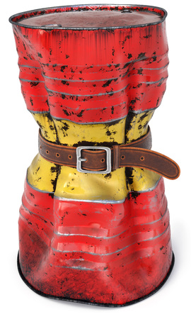 tight: Old oil barrel with a tight belt. Isolated on white background. Stock Photo