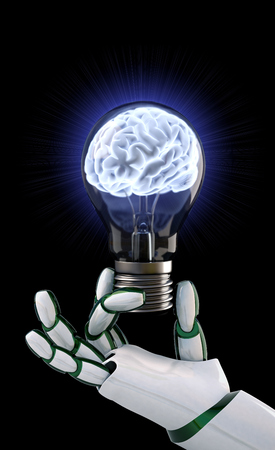 robot hand: Robot hand holding a light bulb with a brain inside. Stock Photo