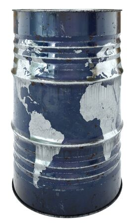 steel drum: rusty oil barrel with a world map. Isolated on a white background. Earth map furnished by NASA.