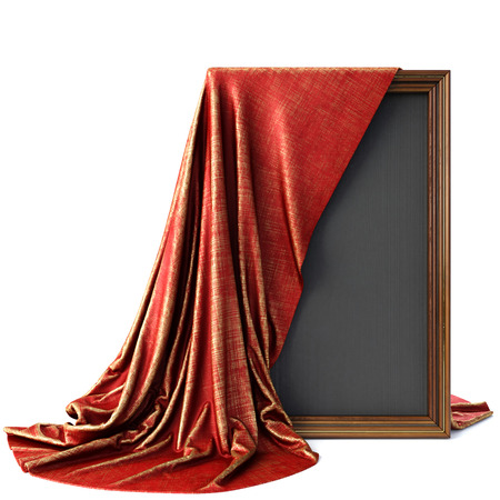 tissu or: Wooden frame covered with a luxurious red cloth. Isolated on white background.