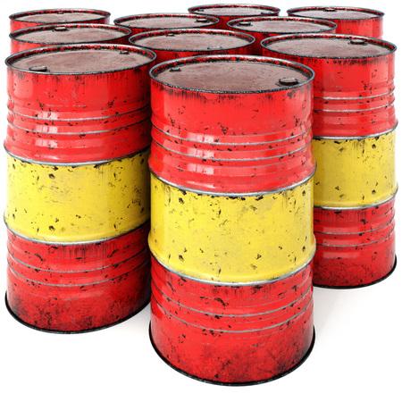 oxidado: El barril de petróleo oxidado aislado en un fondo blanco