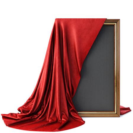 Marco de madera cubierto con un paño rojo de lujo. Aislado en el fondo blanco. Foto de archivo