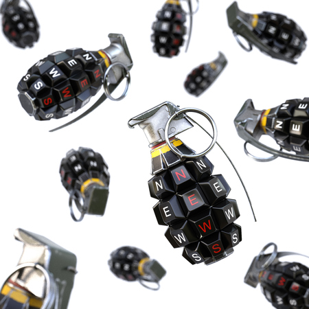 sensation: Keyboard grenade concept. Isolated on white background. Stock Photo