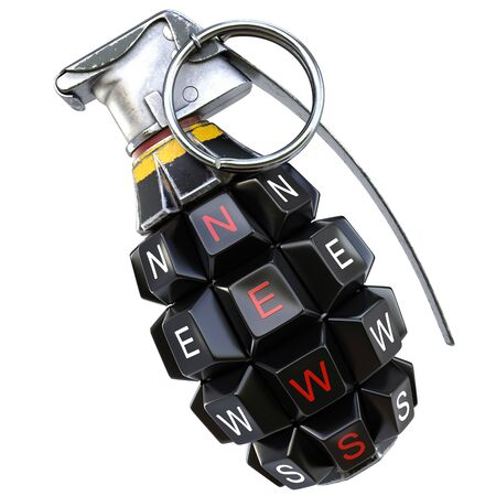 grenade: Keyboard grenade concept. Isolated on white background. Stock Photo